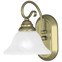 Livex 6101-01 Coronado 1 Light 8 inch Antique Brass Bath Light Wall Light in White Alabaster