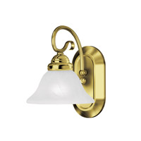 Livex 6101-02 Coronado 1 Light 8 inch Polished Brass Bath Light Wall Light in White Alabaster