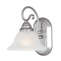 Coronado 1 Light 8 inch Brushed Nickel Bath Light Wall Light in White Alabaster