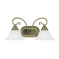 Livex 6102-01 Coronado 2 Light 19 inch Antique Brass Bath Light Wall Light in White Alabaster