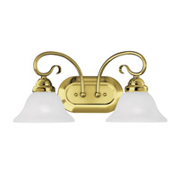 Livex 6102-02 Coronado 2 Light 19 inch Polished Brass Bath Light Wall Light in White Alabaster