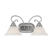 Coronado 2 Light 19 inch Brushed Nickel Bath Light Wall Light in White Alabaster