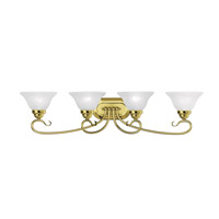 Coronado 4 Light 36 inch Polished Brass Bath Light Wall Light in White Alabaster