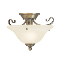 Coronado 1 Light 13 inch Antique Brass Flush Mount Ceiling Light in White Alabaster