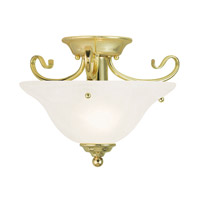 Livex 6109-02 Coronado 1 Light 13 inch Polished Brass Flush Mount Ceiling Light in White Alabaster
