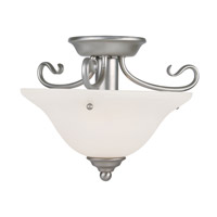 Livex 6109-91 Coronado 1 Light 13 inch Brushed Nickel Ceiling Mount Ceiling Light in White Alabaster photo thumbnail