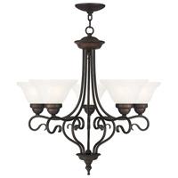 Livex 6115-07 Coronado 5 Light 26 inch Bronze Chandelier Ceiling Light in White Alabaster