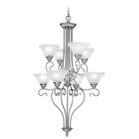 Livex 6118-91 Coronado 8 Light 27 inch Brushed Nickel Chandelier Ceiling Light in White Alabaster photo thumbnail