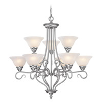 Coronado 9 Light 31 inch Brushed Nickel Chandelier Ceiling Light in White Alabaster