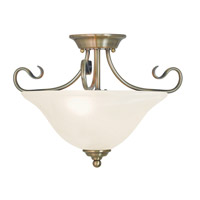 Livex Coronado 2 Light Flush Mount in Antique Brass 6121-01