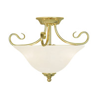 Livex 6121-02 Coronado 2 Light 16 inch Polished Brass Flush Mount Ceiling Light in White Alabaster