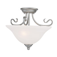 Livex 6121-91 Coronado 2 Light 16 inch Brushed Nickel Ceiling Mount Ceiling Light in White Alabaster photo thumbnail