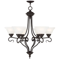 Coronado 6 Light 29 inch Bronze Chandelier Ceiling Light in White Alabaster