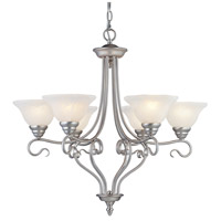 Coronado 6 Light 29 inch Brushed Nickel Chandelier Ceiling Light in White Alabaster