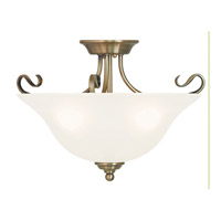 Livex 6130-01 Coronado 3 Light 19 inch Antique Brass Flush Mount Ceiling Light