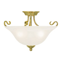 Livex 6130-02 Coronado 3 Light 19 inch Polished Brass Flush Mount Ceiling Light