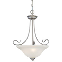 Coronado 3 Light 19 inch Brushed Nickel Inverted Pendant Ceiling Light in White Alabaster