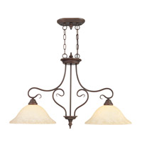 Livex 6132-58 Coronado 2 Light 35 inch Imperial Bronze Island Light Ceiling Light in Vintage Scavo