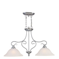 Livex 6132-91 Coronado 2 Light 35 inch Brushed Nickel Island Light Ceiling Light in White Alabaster