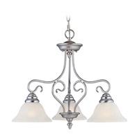 Livex 6133-91 Coronado 3 Light 24 inch Brushed Nickel Chandelier Ceiling Light in White Alabaster