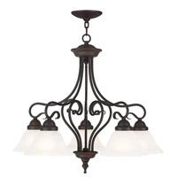 Livex 6135-07 Coronado 5 Light 26 inch Bronze Dinette Chandelier Ceiling Light in White Alabaster