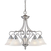 Livex 6135-91 Coronado 5 Light 26 inch Brushed Nickel Chandelier Ceiling Light in White Alabaster photo thumbnail