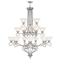 Livex 6139-91 Coronado 18 Light 45 inch Brushed Nickel Foyer Chandelier Ceiling Light in White Alabaster