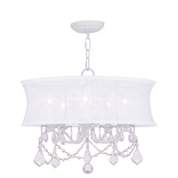 Newcastle 5 Light 20 inch White Chandelier Ceiling Light in Off White Silk Shimmer