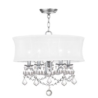 Newcastle 5 Light 20 inch Brushed Nickel Chandelier Ceiling Light in White Silk Shimmer