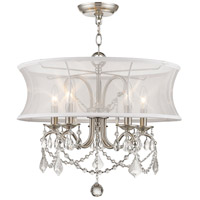 Livex 6305-91 Newcastle 5 Light 20 inch Brushed Nickel Chandelier Ceiling Light in White Silk Shimmer alternative photo thumbnail