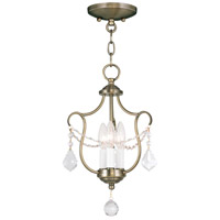 Livex 6420-01 Chesterfield 3 Light 10 inch Antique Brass Pendant/Ceiling Mount Ceiling Light