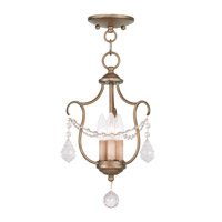 Livex 6420-48 Chesterfield 3 Light 10 inch Antique Gold Leaf Pendant/Ceiling Mount Ceiling Light