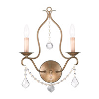 Livex 6422-48 Chesterfield 2 Light 12 inch Antique Gold Leaf Wall Sconce Wall Light