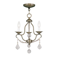 Chesterfield 3 Light 12 inch Antique Brass Mini Chandelier Ceiling Light