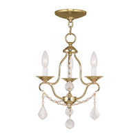 Chesterfield 3 Light 12 inch Polished Brass Mini Chandelier Ceiling Light