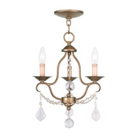 Chesterfield 3 Light 12 inch Antique Gold Leaf Mini Chandelier Ceiling Light