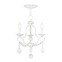 Livex 6423-60 Chesterfield 3 Light 12 inch Antique White Mini Chandelier Ceiling Light