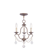 Chesterfield 3 Light 12 inch Venetian Golden Bronze Mini Chandelier Ceiling Light