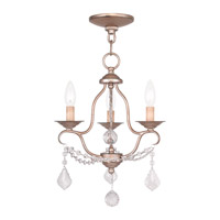 Livex Lighting Chesterfield 3 Light Mini Chandelier in Antique Silver Leaf 6423-73