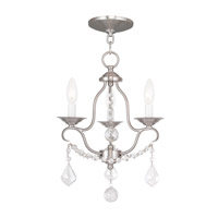 Livex 6423-91 Chesterfield 3 Light 12 inch Brushed Nickel Mini Chandelier Ceiling Light