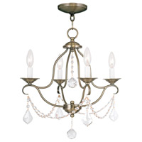 Livex 6424-01 Chesterfield 4 Light 18 inch Antique Brass Mini Chandelier Ceiling Light