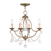 Livex 6424-48 Chesterfield 4 Light 18 inch Antique Gold Leaf Mini Chandelier Ceiling Light