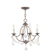 Livex Lighting 6424-71 Chesterfield 4 Light 18 inch Hand Applied Venetian Golden Bronze Mini Chandelier Ceiling Light
