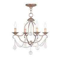 Livex 6424-73 Chesterfield 4 Light 18 inch Antique Silver Leaf Mini Chandelier Ceiling Light