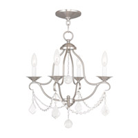 Livex 6424-91 Chesterfield 4 Light 18 inch Brushed Nickel Mini Chandelier Ceiling Light