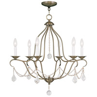 Chesterfield 6 Light 25 inch Antique Brass Chandelier Ceiling Light