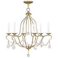 Livex Lighting Chesterfield 6 Light Chandelier in Polished Brass 6426-02