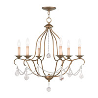 Chesterfield 6 Light 25 inch Antique Gold Leaf Chandelier Ceiling Light