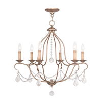 Livex Lighting 6426-73 Chesterfield 6 Light 25 inch Hand Painted Antique Silver Leaf Chandelier Ceiling Light