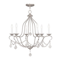 Livex 6426-91 Chesterfield 6 Light 25 inch Brushed Nickel Chandelier Ceiling Light